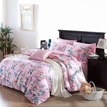 beautiful satin drill tribute silk 40S cotton 4pcs bedding set include bed sheet,duvet cover,pillow case