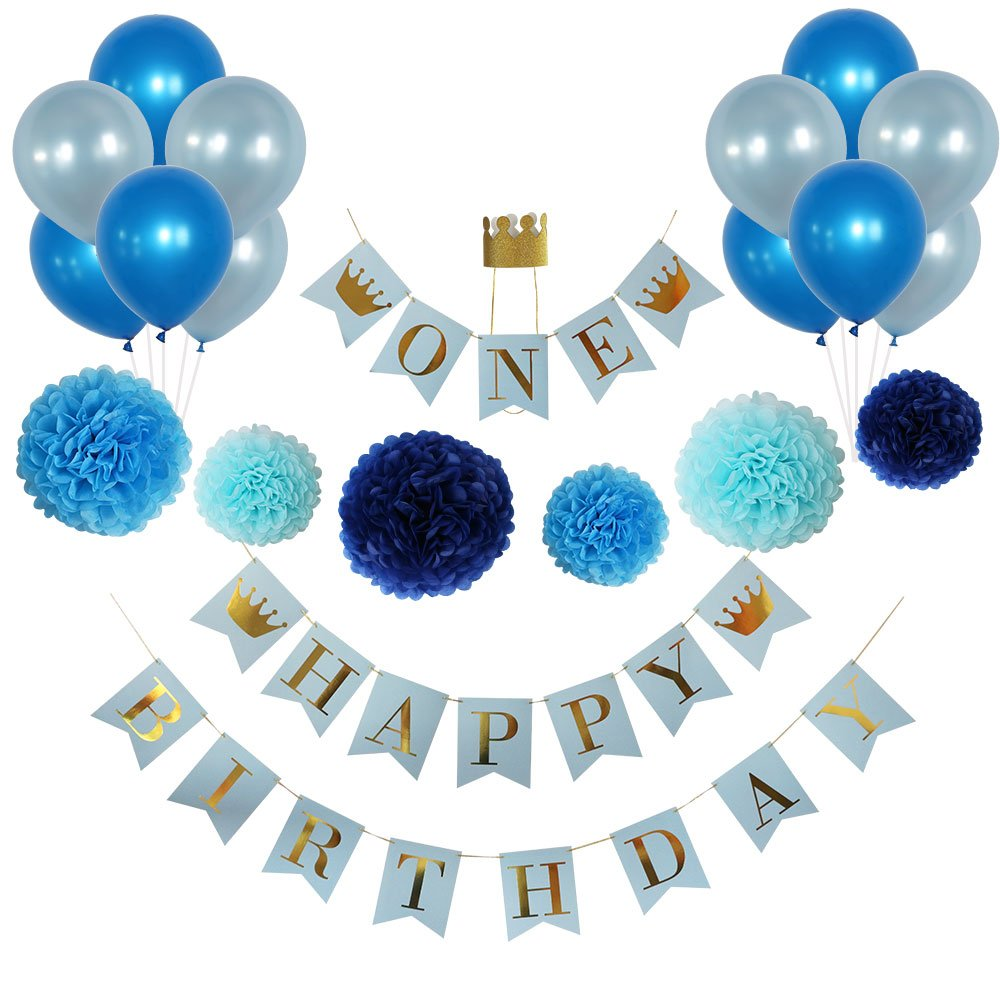 Get Quotations Birthday Decorations For Boys 1st Boy Blue And Gold Decorationshigh