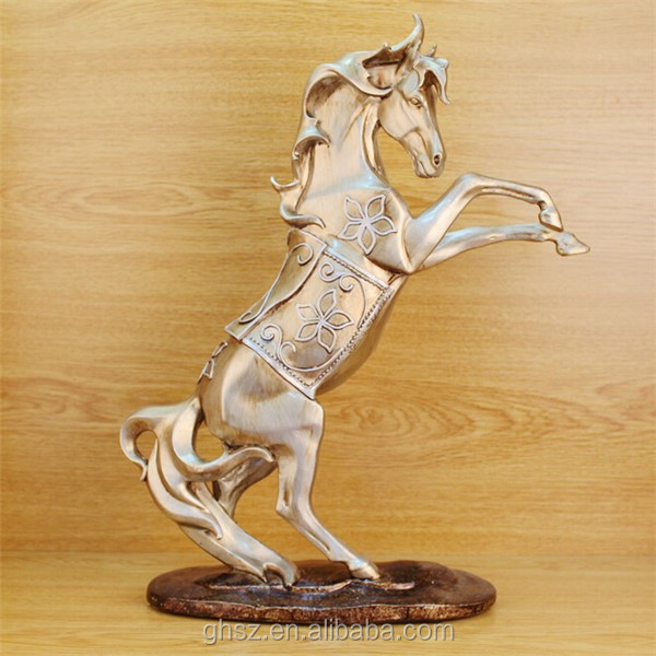 customized study furniture resin abstract gold horse statues