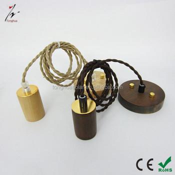 Whole Simple Wooden Pendant Light Kit E27 Holder Lamp Cord Set