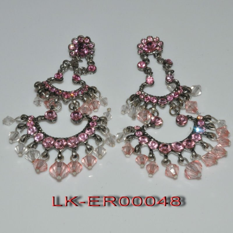 2012 fashion style chain earring, casting and acrylic beads earring jewelry