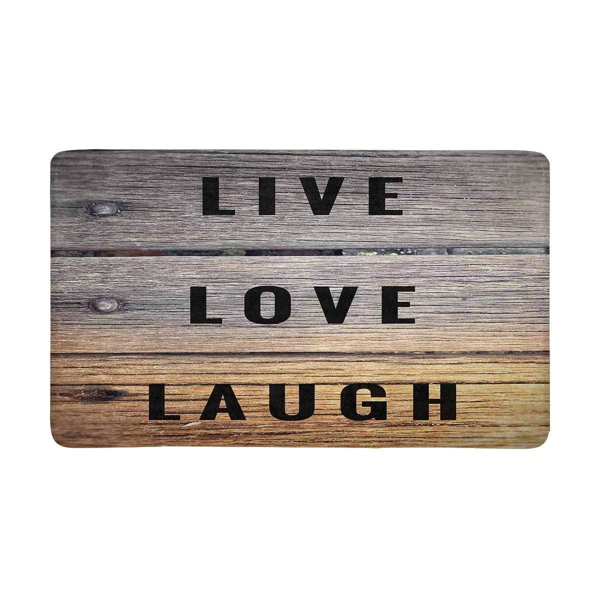 "InterestPrint Motivational and Inspirational Quotes Live Love Laugh Doormat Indoor Outdoor Entrance Rug Floor Mats Door Mat Non-Slip Home Decor, Rubber Backing Large 30""(L) x 18""(W)"