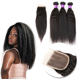 Malaysian Virgin Human Hair Yaki Kinky Straight Unprocessed Remy Hair Weaves Double Wefts 100g Hair Bundle