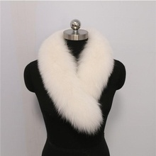 Fashion 100% Real Fox Big White Fur Collar For Hooded Coat Fur Trim