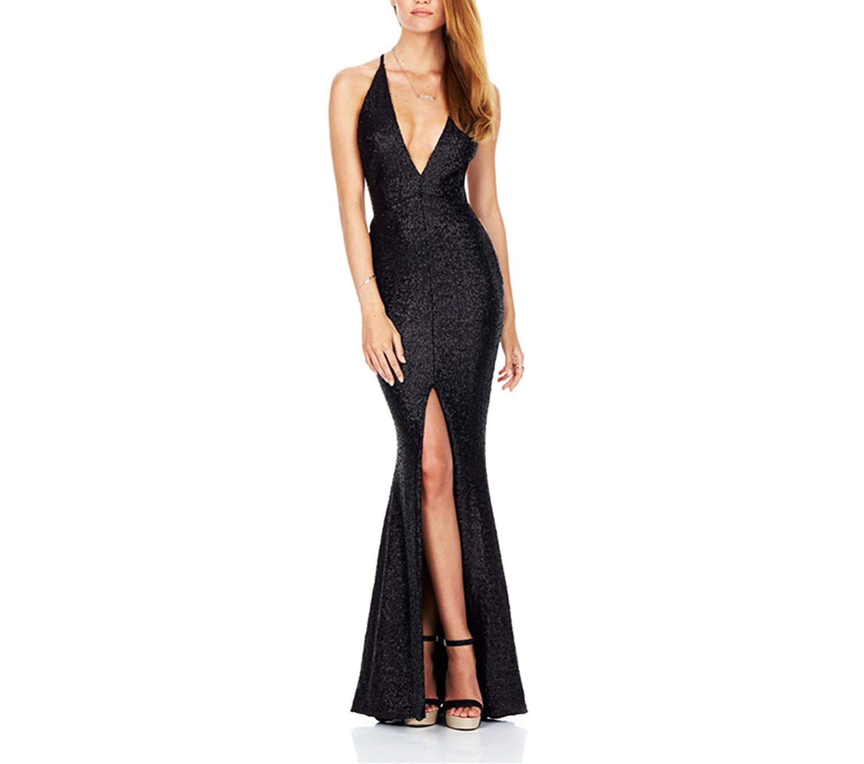 Sexy Deep V-Neck Sequin Dress Cross Backless Women Fashion Black Sequin Dress Elegant Party Long Dress