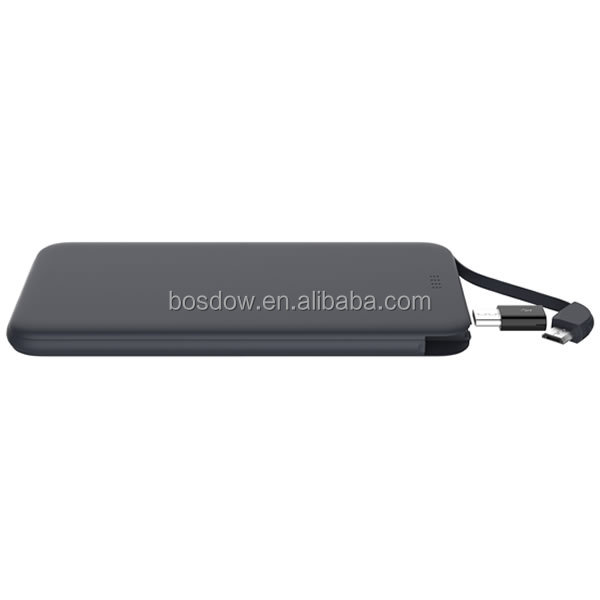 BS-50D Portable charger 5000mah slim powerbank with built-in cable for gift item