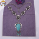 NLX-00593 high quality ethnic antique silver turquoise necklace long alloy attractive design wholesale nepal necklace jewelry