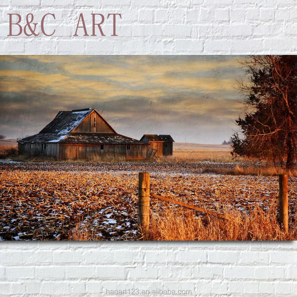 Alami Gambar Kanvas Dinding Lukisan Rumah Pemandangan Desa