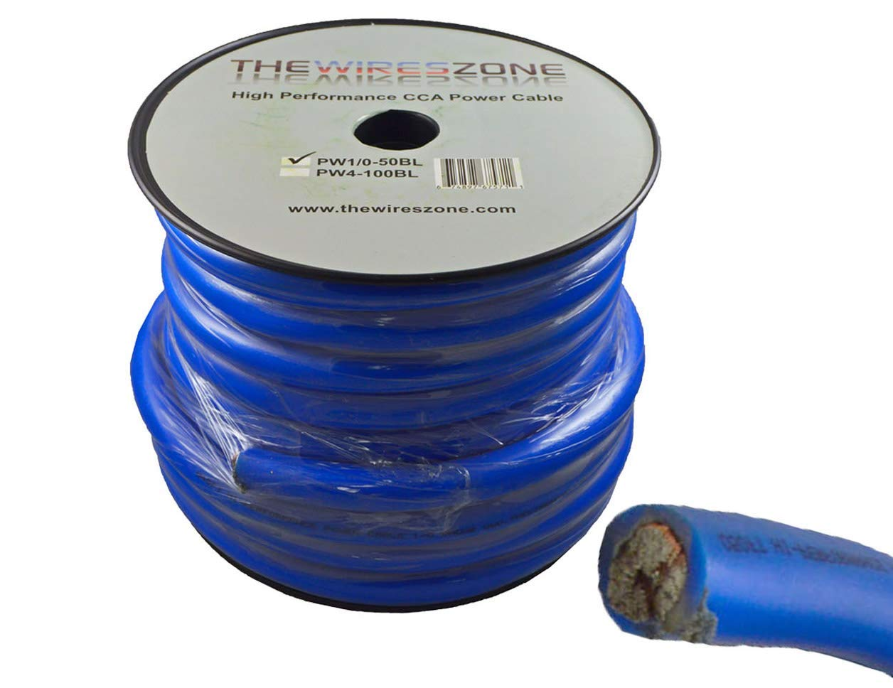 0 Gauge 50 Feet Wire 1/0 AWG High Performance Flexible Amp Power Ground Cable (Blue)