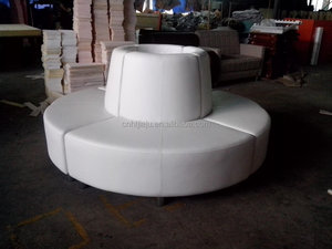 white PU sectional round sofa