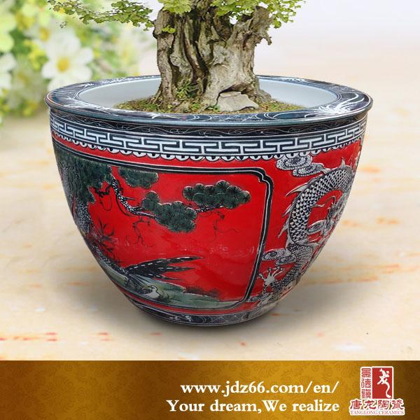 fancy design ceramic plant pots. Chinese Red Glazed With Carved Pine Tree Design Ceramic Flower Pot  Decoration Buy