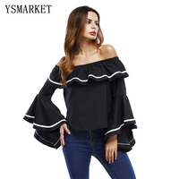 Womens Off-shoulder Ruffled Long Sleeve Bandeau Casual Party Holiday Tops A7134