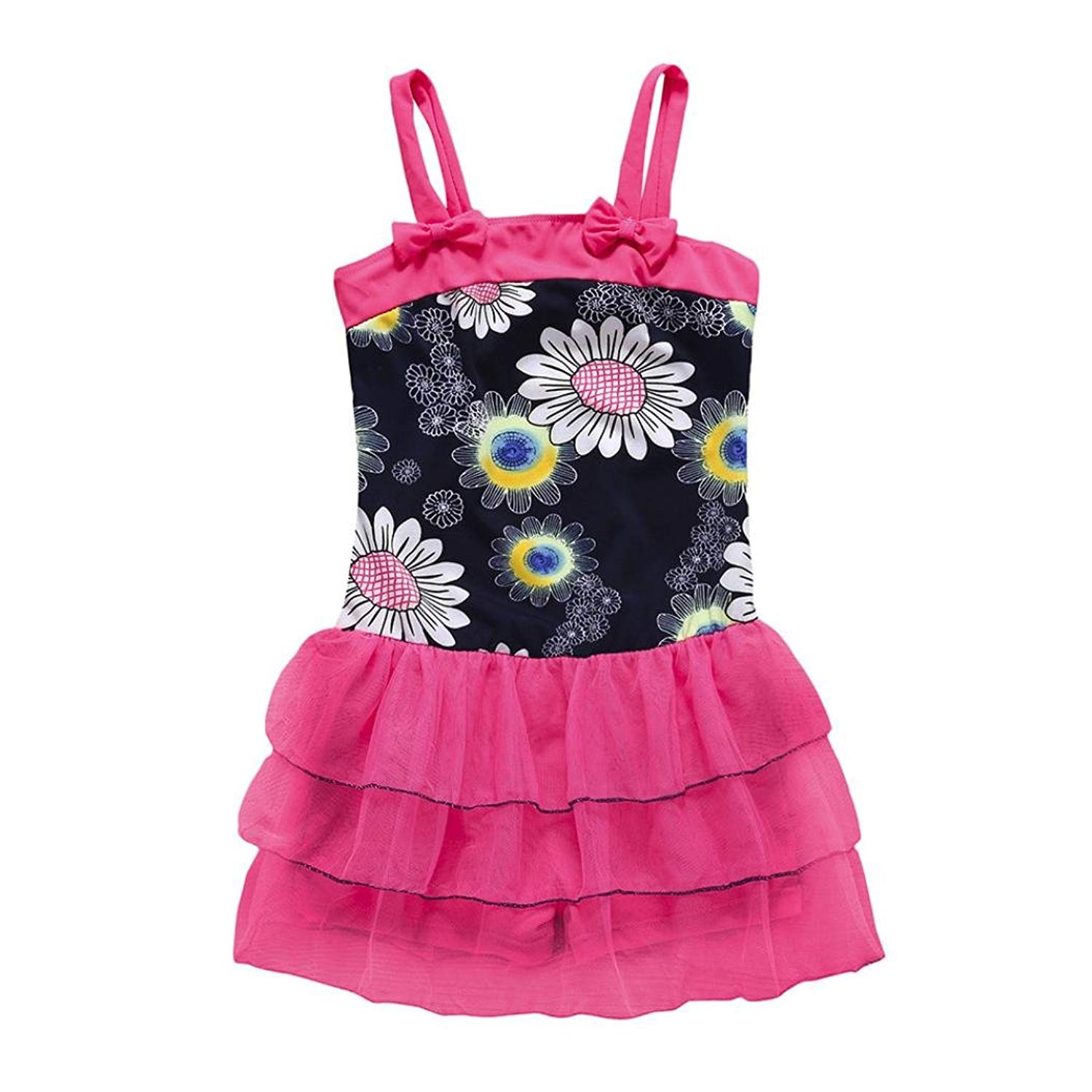 911b19581b0bb Get Quotations · Little Girls Flowers   Bowknot One Pieces Swim Suits Rash  Guard Shirts with Tutu Tulle