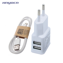 Dual 2 Ports EU Plug USB Charger Adapter For Samsung/Xiaomi Mi5/Meizu Or V8 Micro USB Cable, 5.2V 2A Charging Wall Power Travel