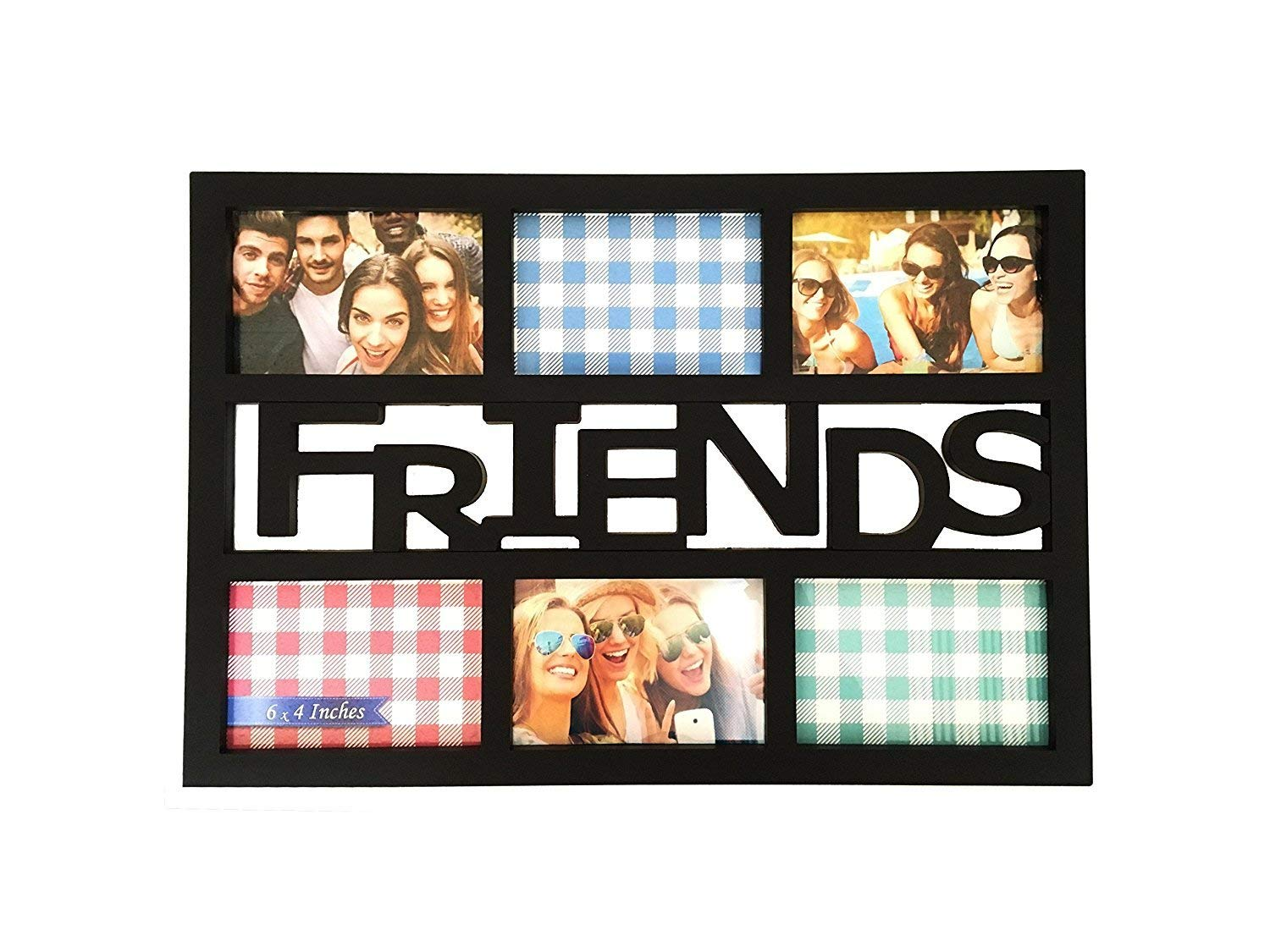 """BestBuy Frames """"Friends Black 6 Opening 4x6 Wall Hanging Collage Picture Frame, Artisitc 3D Style, Perfect for Gifts"""