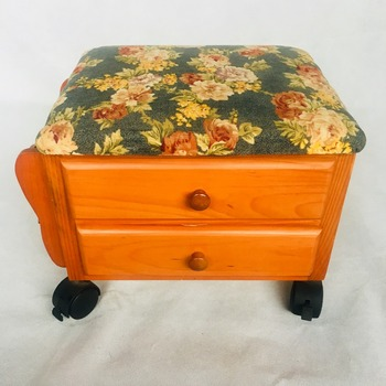 Wooden Footstool With Two Drawers Classic Footrest Ottoman