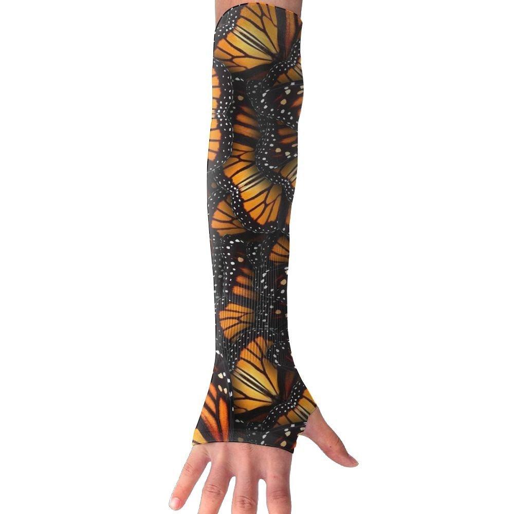 Huadduo Women's Super Long Fingerless Pumpkin Autumn Flower Anti-uv Sun Protection Golf Driving Sports Arm Sun Sleeves Gloves