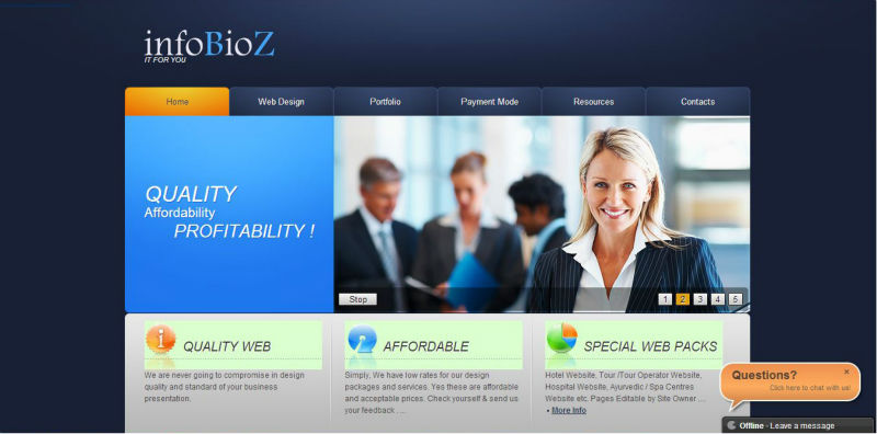 4 Static Pages Rich Web Design & Development with Flash Headers - USD 50