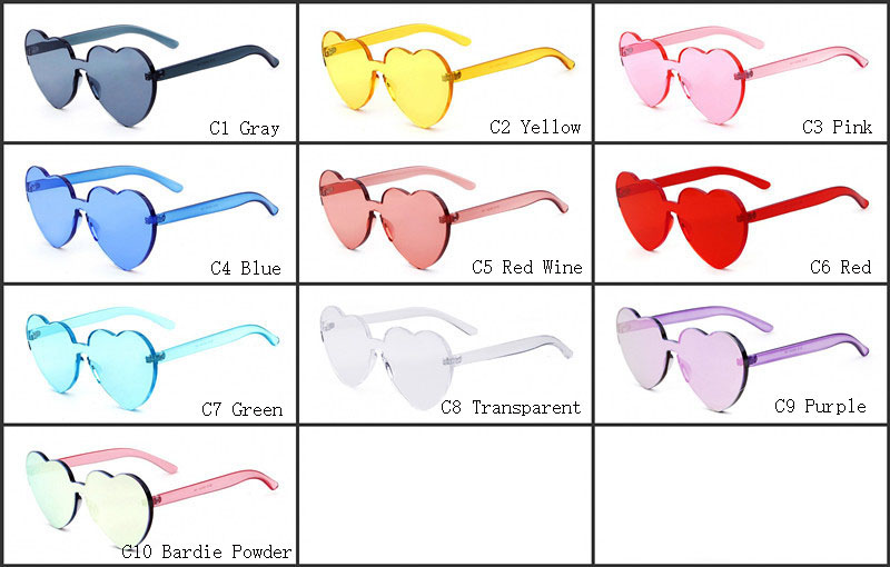 30535f340a New Red Heart sunglasses for women 2018 trendy novelty rimless sun glasses  love style fashion pink