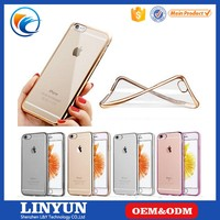 New ! Luxury Ultra Thin Clear Crystal Rubber Plating Electroplating TPU Soft Mobile Phone Case For iPhone 6 6s Plus Cover bag