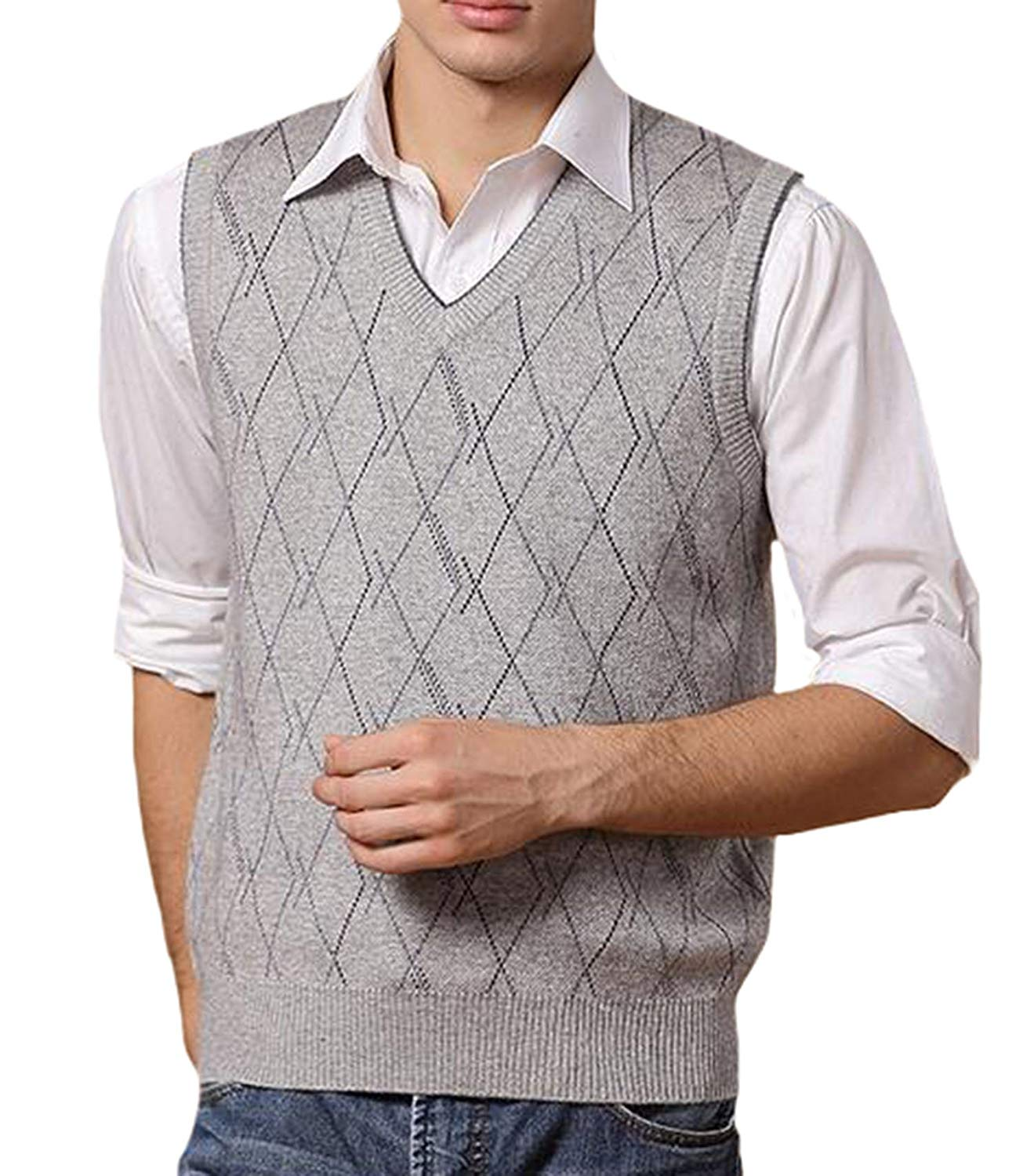 d04eb32ea0cb0c UP Men s Casual Slim Fit Vest Knit V Neck Argyle Pattern Wool Sweater Vest