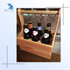 OEM accepted lacquered plywood wine carrier with handle for six bottle