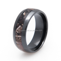 Fashion Jewelry black ceramic zirconium real tree camo wedding rings for men
