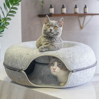 Pet tunnel felt fashion cool vogue donut shape removable zippered kitten four seasons cat bed house nest