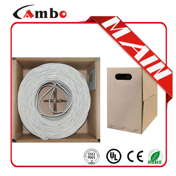 Grey Color Fluke Test 305M 4 Twisted Pair 24AWG Solid Copper lan cable connection