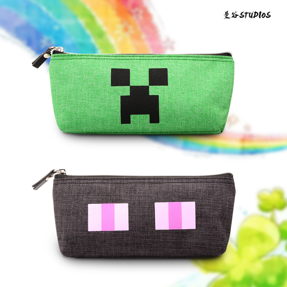 Hot!fiee ship fashion student pencil bag green&black Mine pencil bag change pocket HIGH QUALITY!SAME DAY SHIPPING