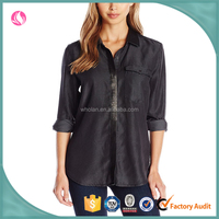Jeans women's leather trimmed long sleeve blouse ,ladies jeans top design, tee shirt for woman