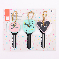 Valentine Gift 3 Pack Double-Sided Custom PVC Rubber Key Cover