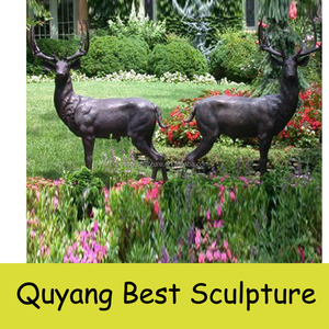 life size brass deer statue for garden decoration