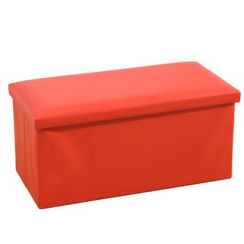 Double Seat Leather Folding Storage Ottoman Bench 30x15x15 Foldable Organizer