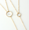 Open Circle Lariat Gold Y Necklace Stainless Steel Long Gold Necklace