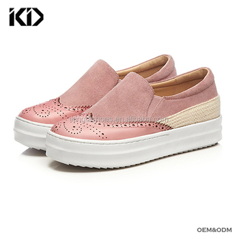 71fd9090d59 Cow hide high quality women sneakers cute slip on platform shoes girls  wholesale custom branded sneaker