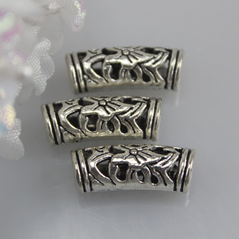 Wholesale 6*7*19mm Tibetan Silver Stone Flower Carved Vintage Tube Spacer Metal Beads For Jewelry Making