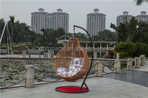 GP Rattan Outdoor Wicker Patio Pod Swing Chair With Cushion and Stand