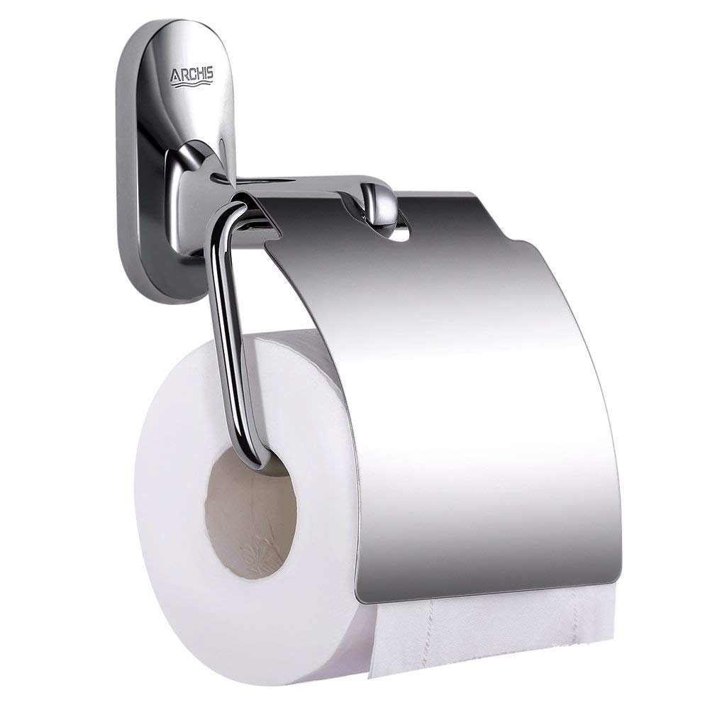 ARCHIS Toilet paper holder with cover, Bathroom Tissue Holder Paper Roll Hanger rustproof highest quality Zinc alloy and SUS304 Stainless Steel wall mount, Chrome-plated tissue holder