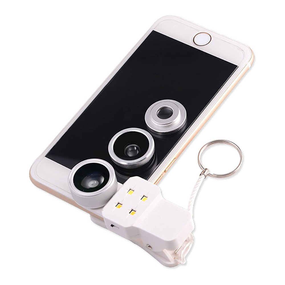 KIKAL 4 in 1 198° Fisheye Lens with Beauty LED Fill Light,15x Micro Lens Plus 0.4x Super Wide Angle Lens,Clip-On Detachable Cell Phone Lens Camera Lens Kits for Smartphone