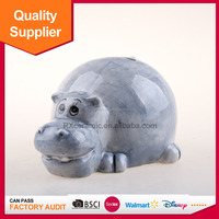 hand painted hippo shape ceramic coin bank