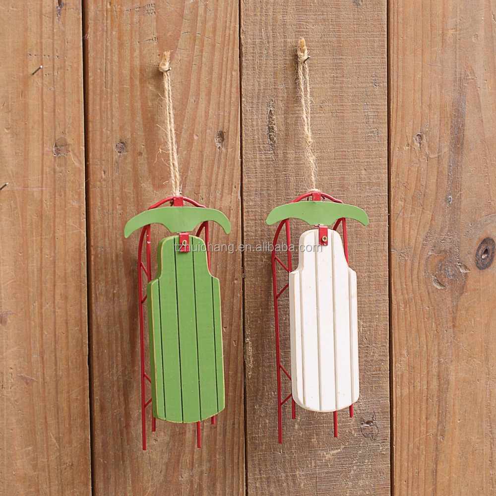Christmas Decoration wood sled sleigh hanging oranments