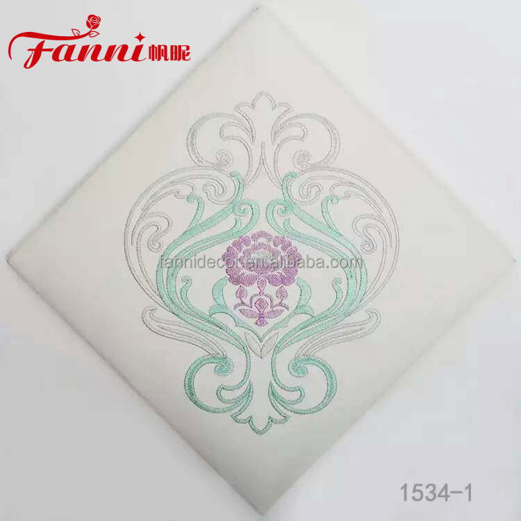 embroidery leather pvc coated for hotel wall decoration/embroidered pvc rexine for TV wall/embroidery flower decorative leather