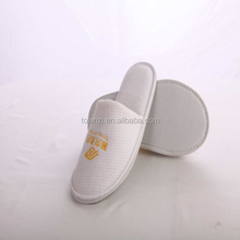 3 Star Washable Hotel Guest Slippers Close Toe Cotton Waffle Disposable Slippers White Hotel Waffle Slipper With Logo