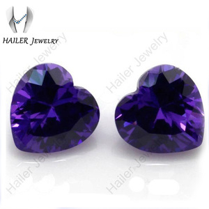 Deep Purple Hand-made Heart Shape CZ Stones