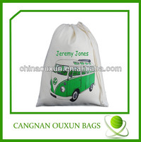 Recycled promotion plain cotton drawstring bag