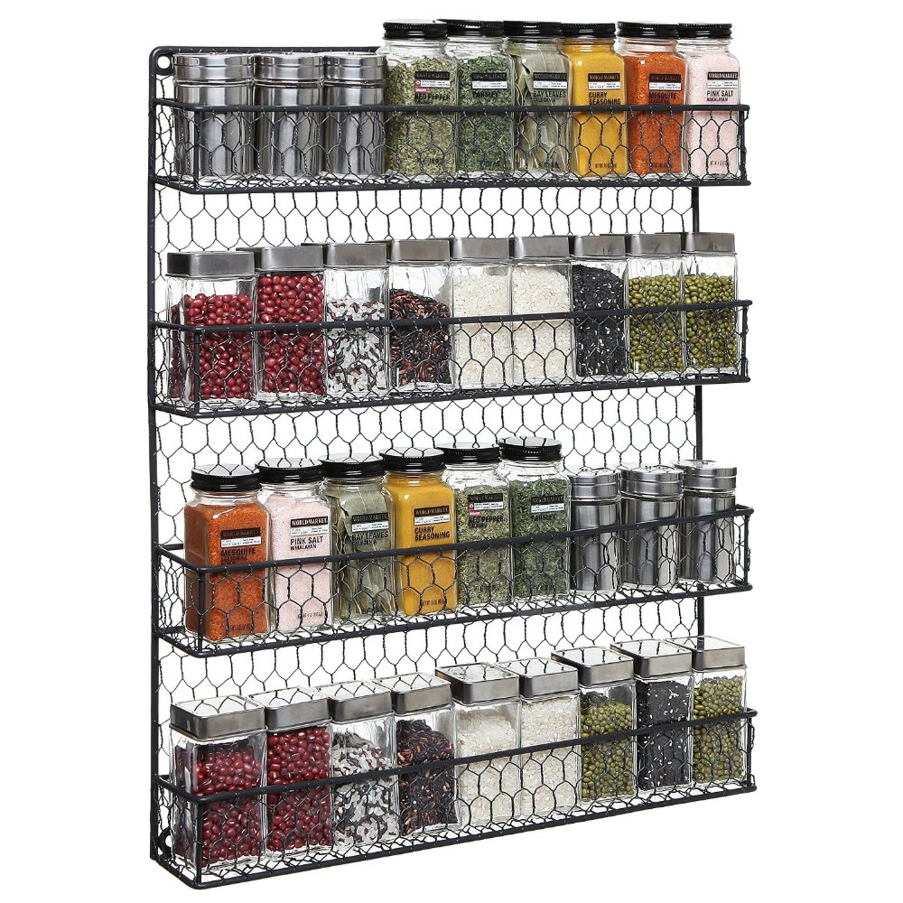 Pantry Wall Storage Rack: 4 Tier Black Country Rustic Chicken Wire Pantry, Cabinet