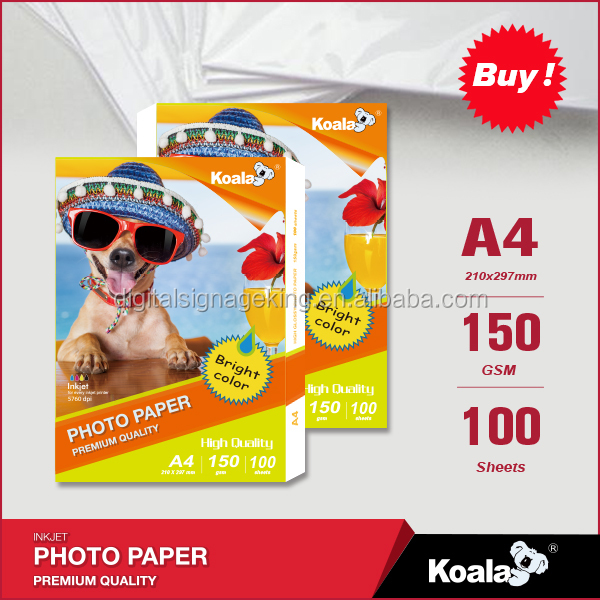 170 gsm RC photo paper waterproof glossy for image output medium