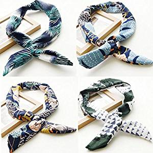 Get Quotations · AUCH 4Pcs Fashion Bohemia Bunny Rabbit Ears Twist Bow  Wired Headbands Scarf Wrap Hair Accessory Hairband 33f6bac88f0