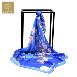 Hot Selling Factory Wholesale Customized Digital Printed Flower Pattern Blue Polyester Chiffon Vietnam Shawl Imitate Silk Scarf